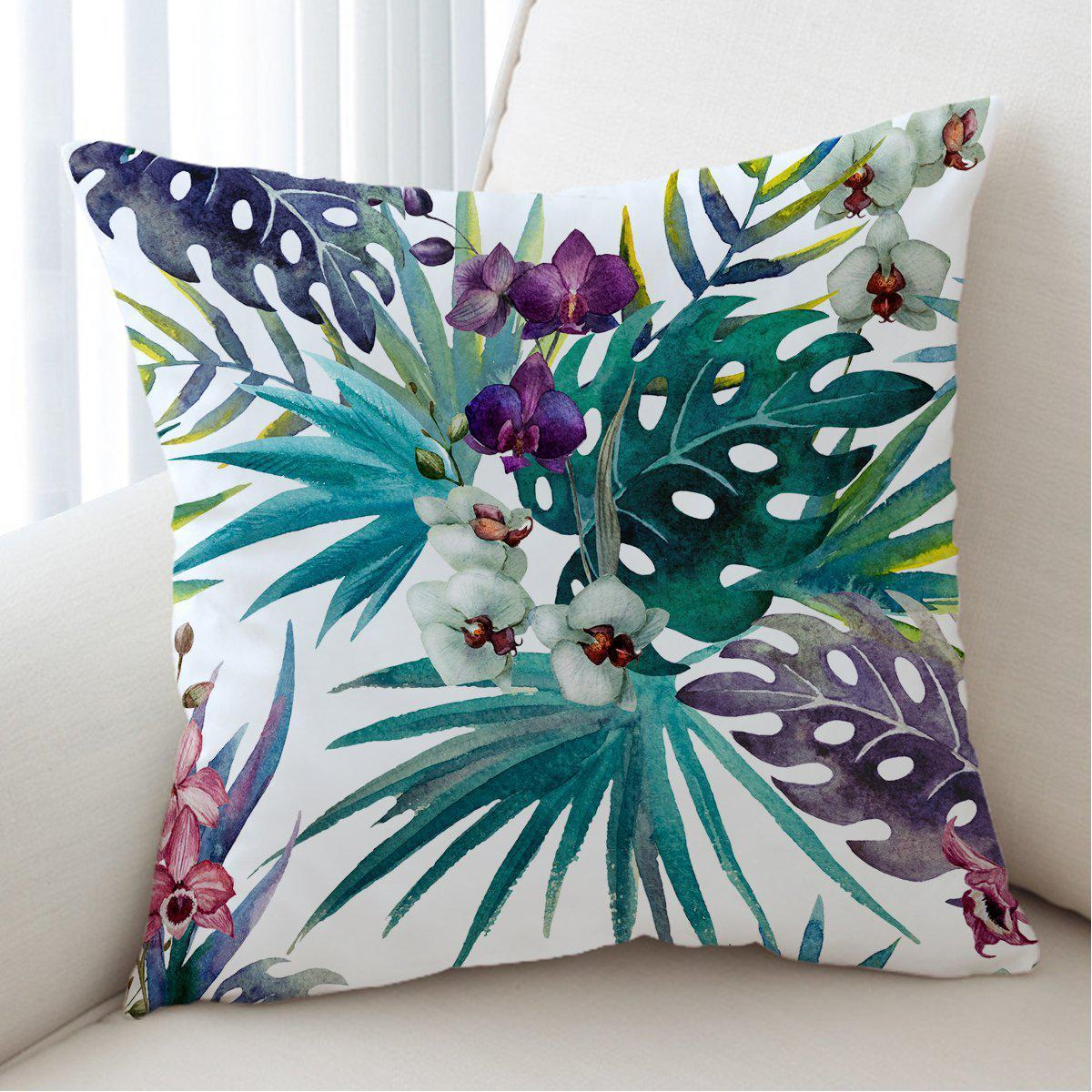 Tropical Orchids Pillow Cover-Coastal Passion