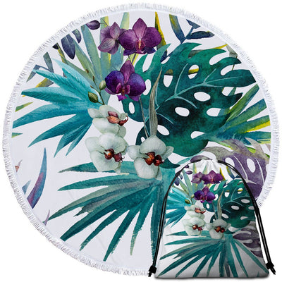 Tropical Orchids Round Beach Towel-Coastal Passion