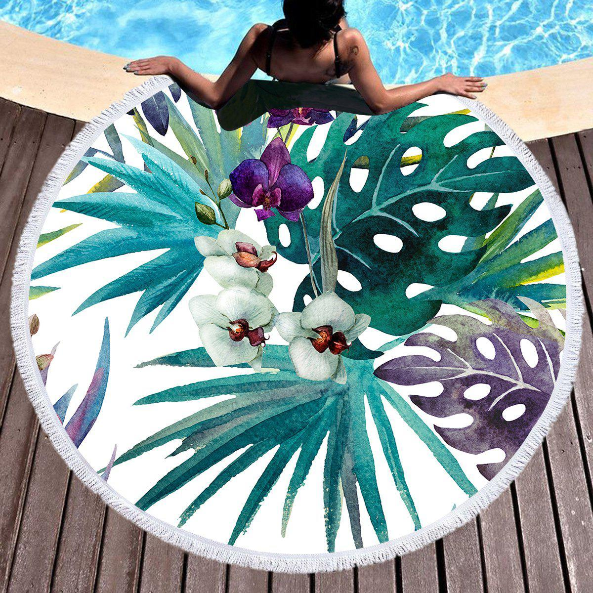 Tropical Orchids Round Beach Towel