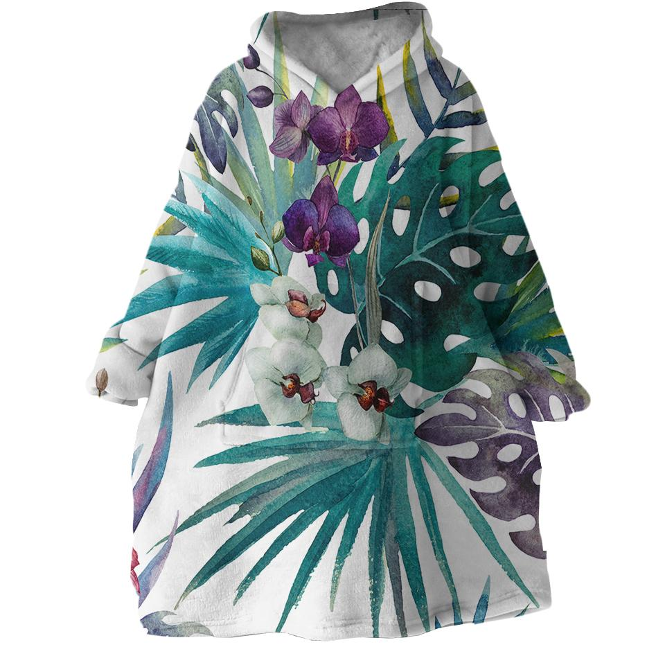 Tropical Orchids Wearable Blanket Hoodie-Coastal Passion
