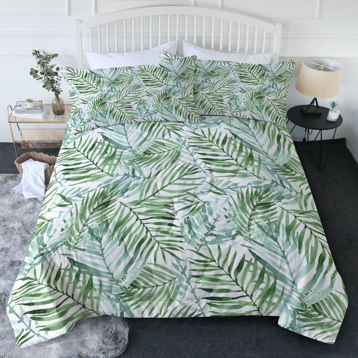 Tropical Palm Leaves Comforter Set-Coastal Passion