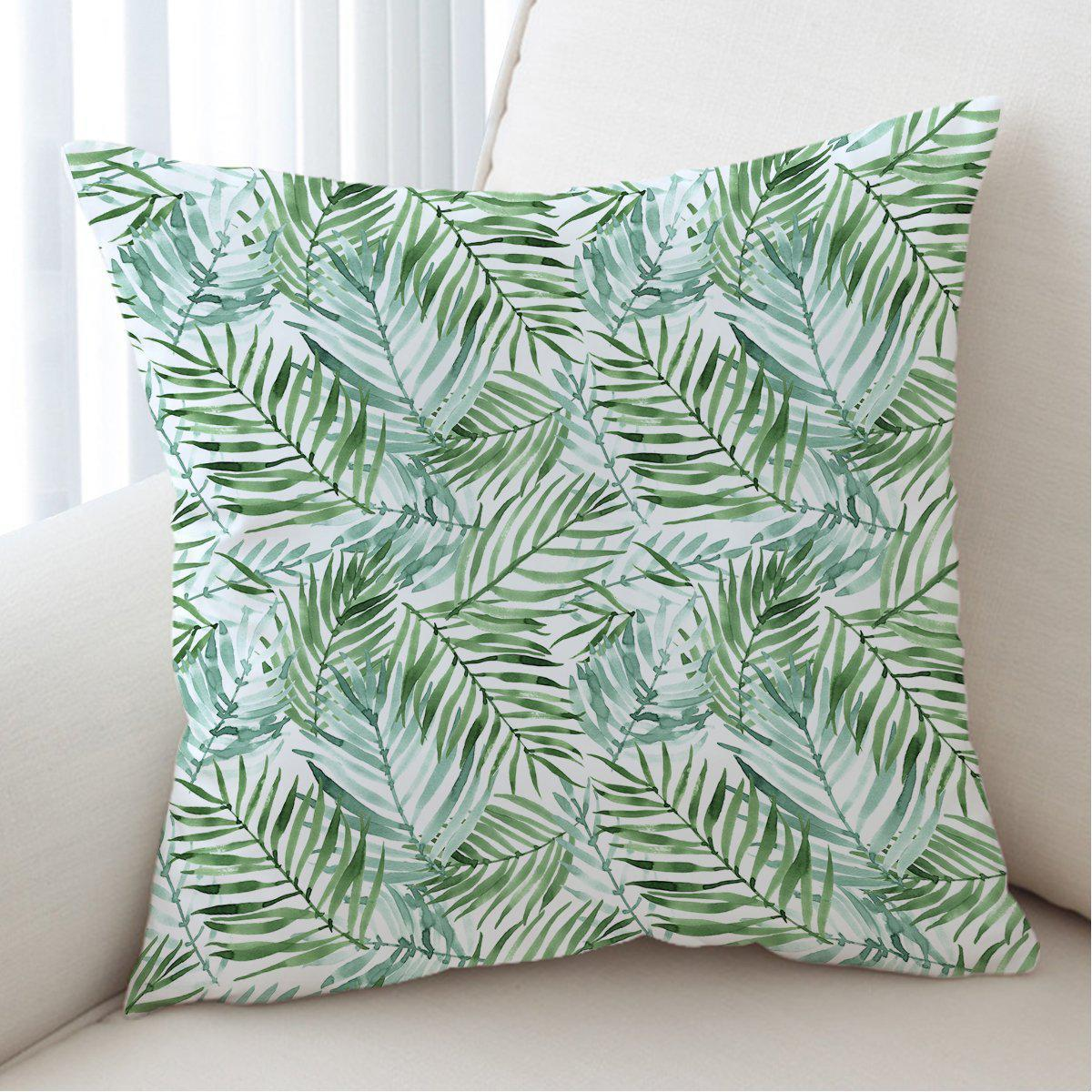 Tropical Palm Leaves Pillow Cover-Coastal Passion