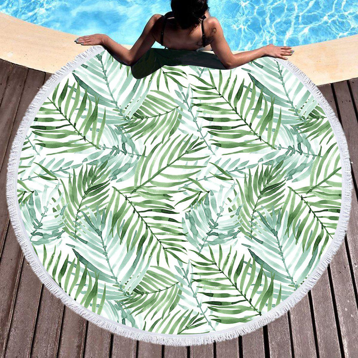 Tropical Palm Leaves Round Beach Towel