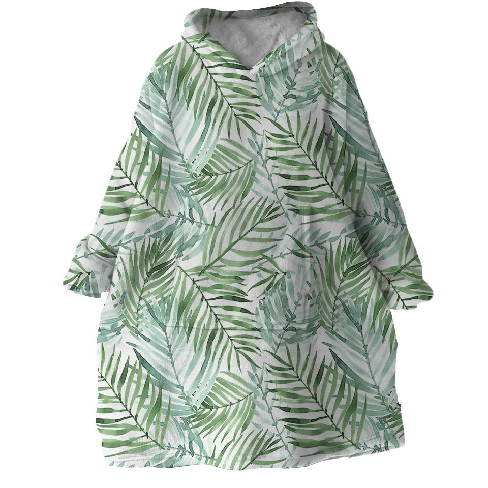 Tropical Palm Leaves Wearable Blanket Hoodie-Coastal Passion