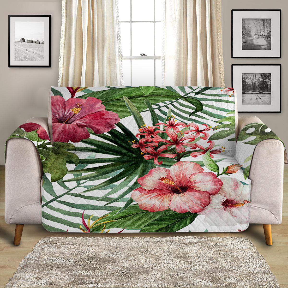 Tropical Hibiscus Sofa Cover