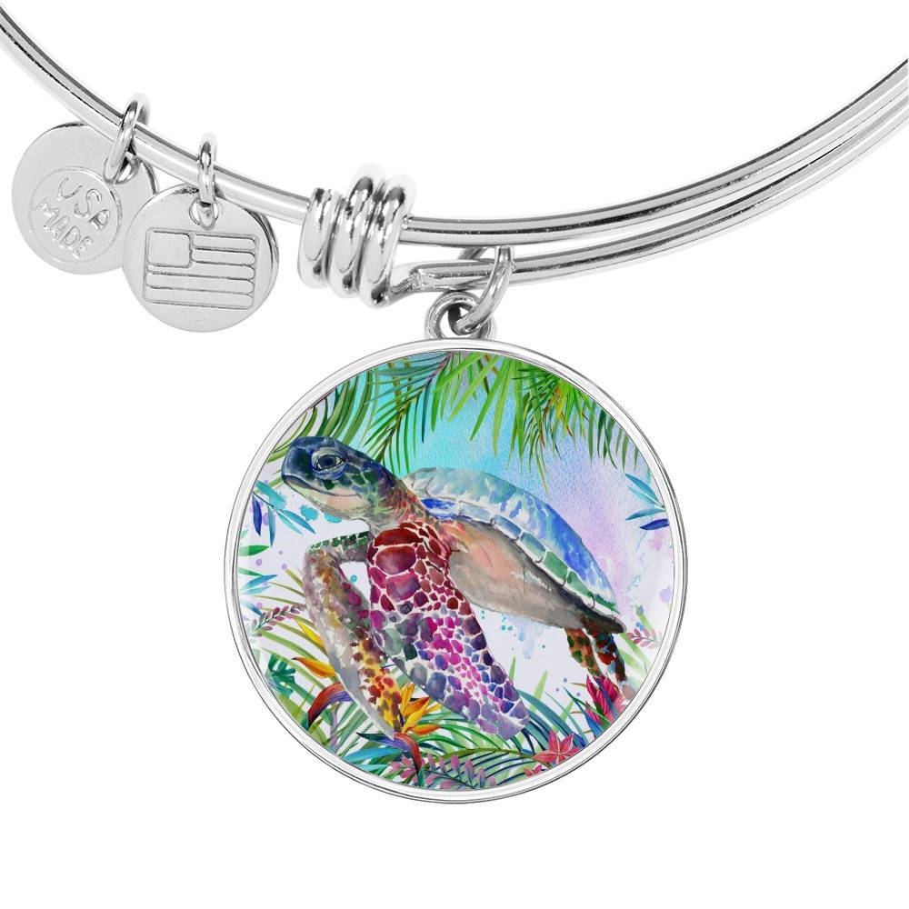Tropical Sea Turtle Bangle Bracelet-Coastal Passion