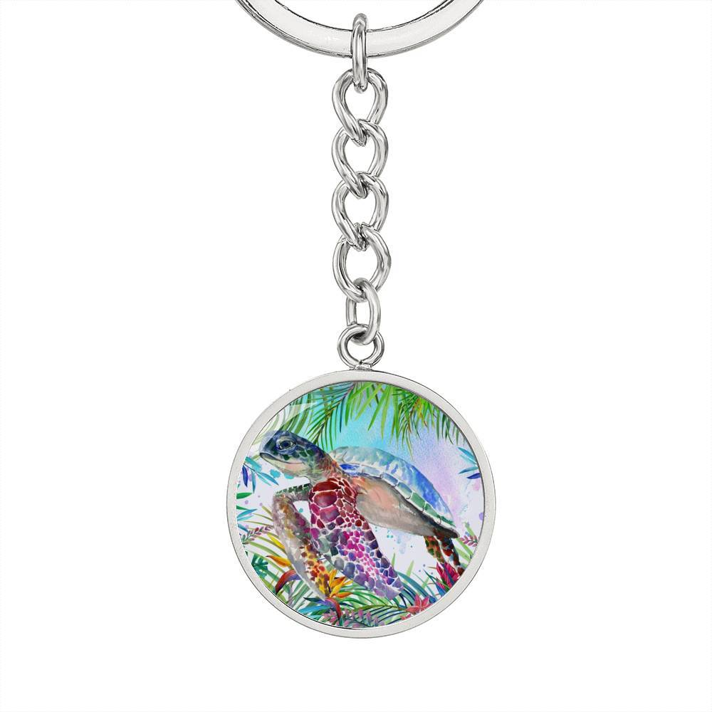 Tropical Sea Turtle Beachy Keychain-Coastal Passion