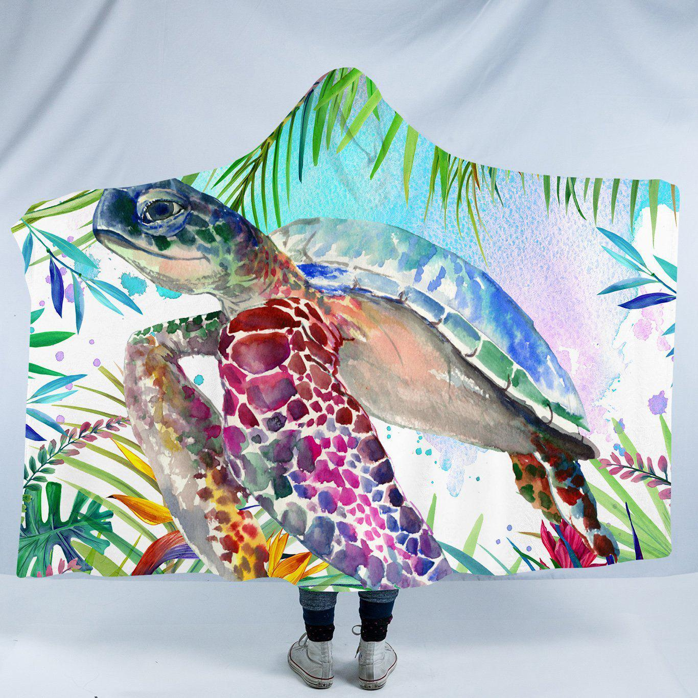 "Tropical Sea Turtle Cozy Hooded Blanket-Fleece Hooded Blanket-Adults: Size 80"" x 60""-Coastal Passion"