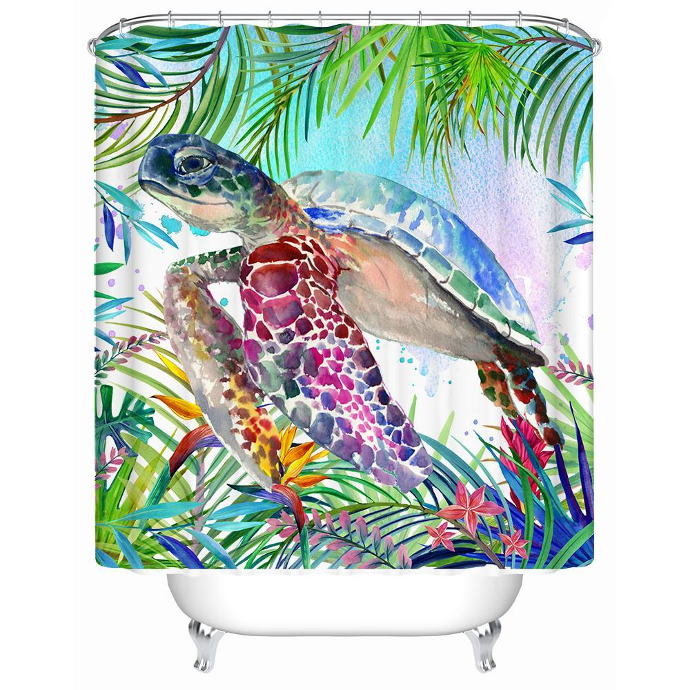 "Tropical Sea Turtle Shower Curtain-Shower Curtain-59"" L. x 70"" H.-Coastal Passion"