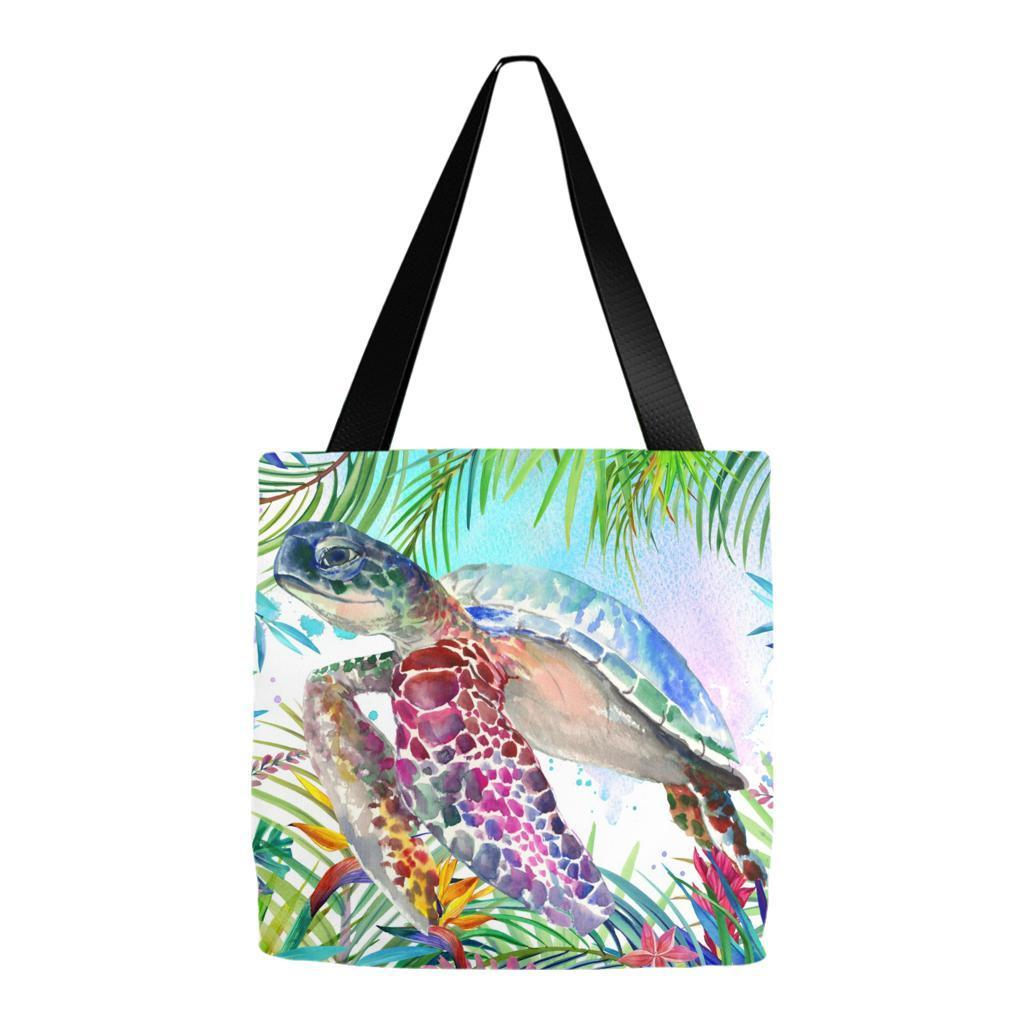 "Tropical Sea Turtle Tote Bag-13"" x 13""-Coastal Passion"
