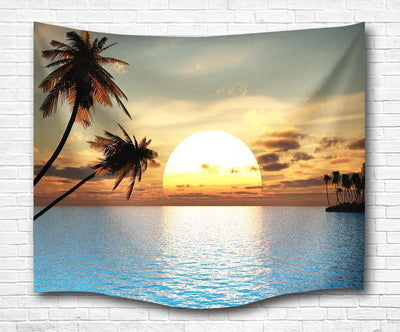 "Tropical Sunset Wall Tapestry-60"" x 40""-Indoor: Light Polyester-Coastal Passion"