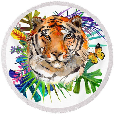 Tropical Tiger Fun Beach Towel-Round Beach Towel-Coastal Passion