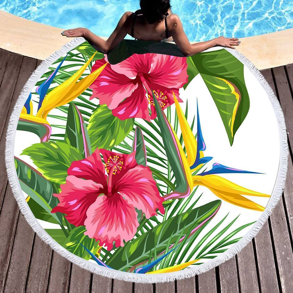 Tropical Weekend Round Beach Towel