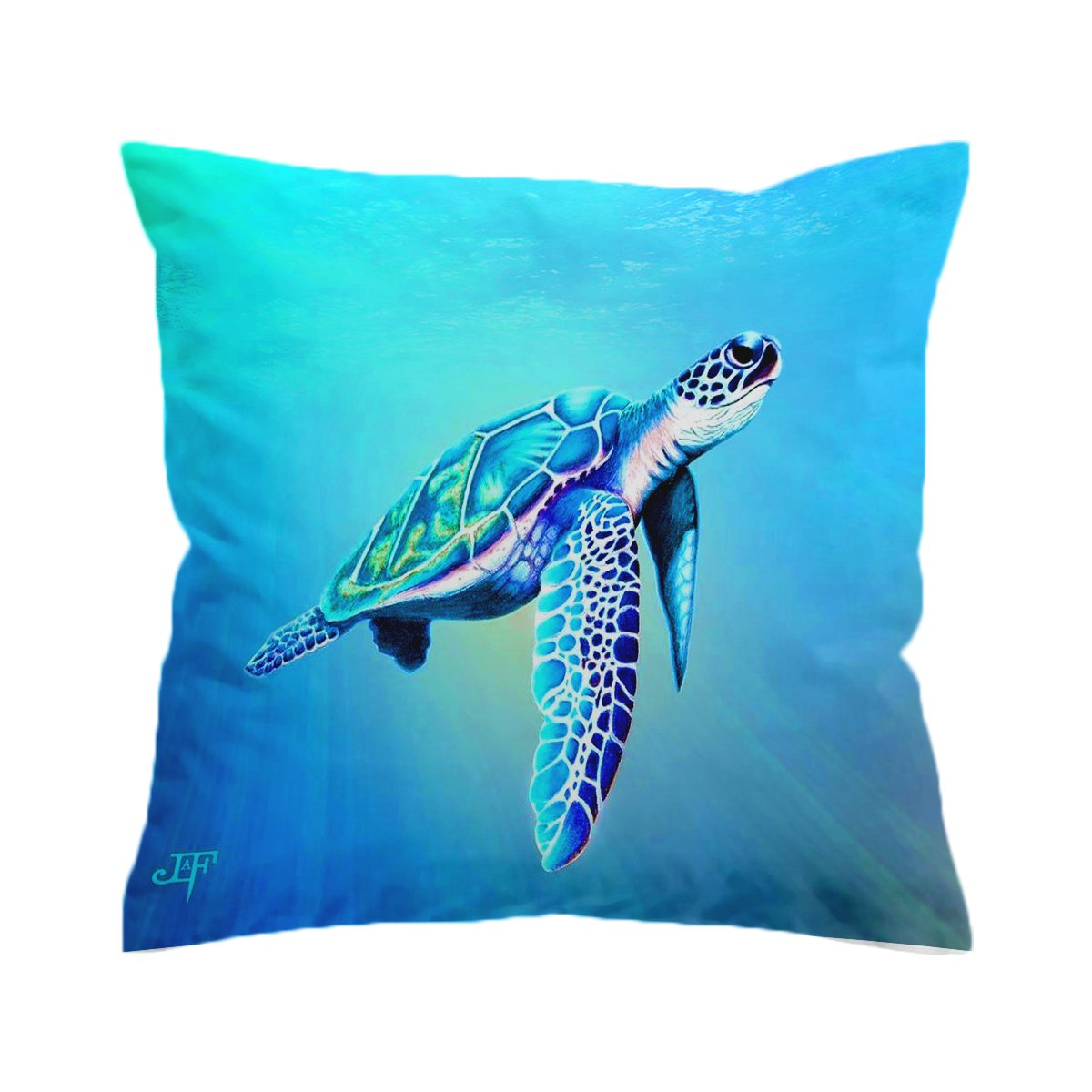 Turquoise Sea Turtle Pillow Cover-Coastal Passion