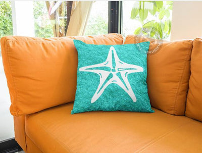 "Turquoise & Starfish Pillow-14""x14""-Spun Polyester Without Zipper-Coastal Passion"