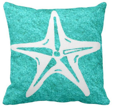 Turquoise & Starfish Pillow--Coastal Passion