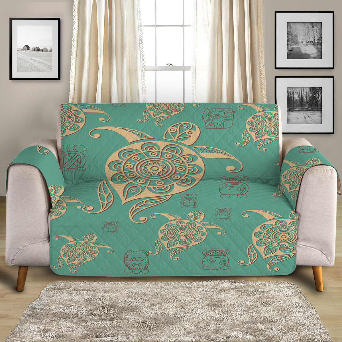 Turtles in Turquoise Sofa Cover