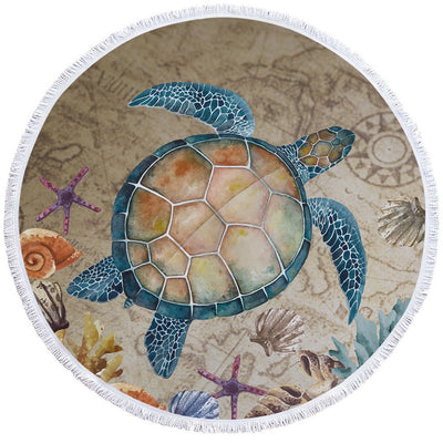 Round Beach Towel-Turtle Island Round Beach Towel-Coastal Passion