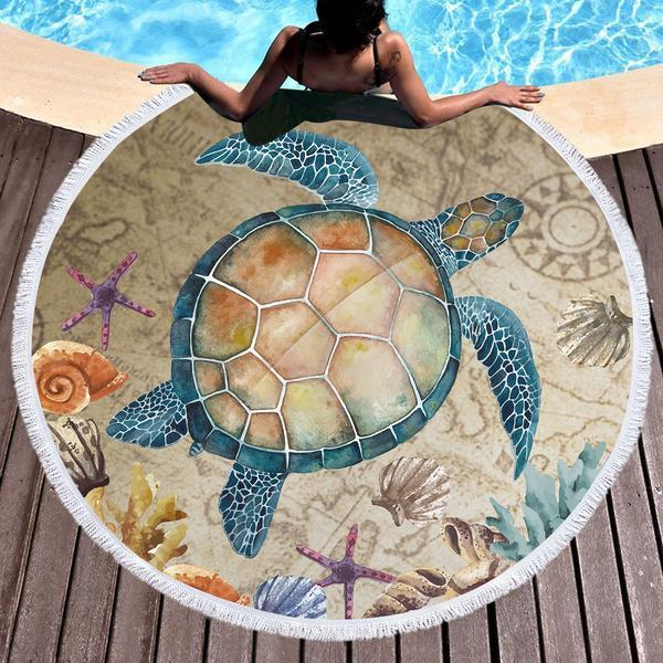 Turtle Island Round Beach Towel