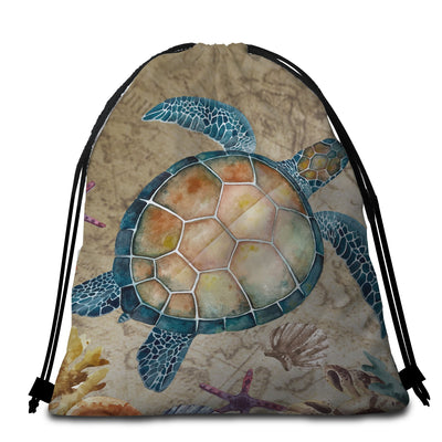 Round Beach Towel-Turtle Island Towel + Backpack-Coastal Passion