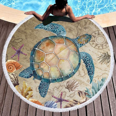 Turtle Island Round Beach Towel-Round Beach Towel-Coastal Passion