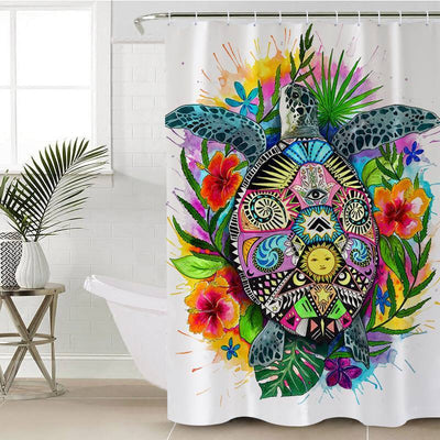 "Turtle Mystic Shower Curtain-Shower Curtain-35"" x 70""-Coastal Passion"
