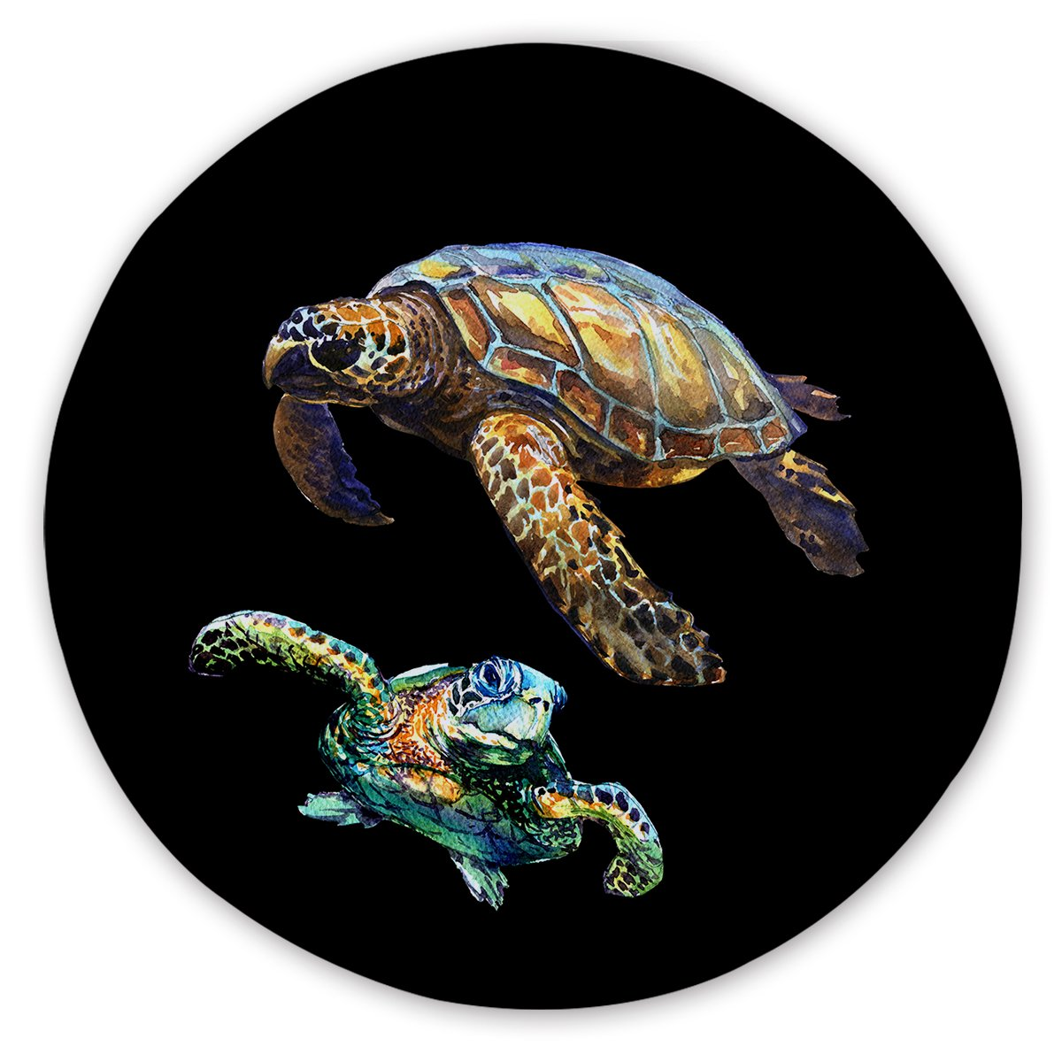 Turtles in Black Round Sand-Free Towel-Coastal Passion