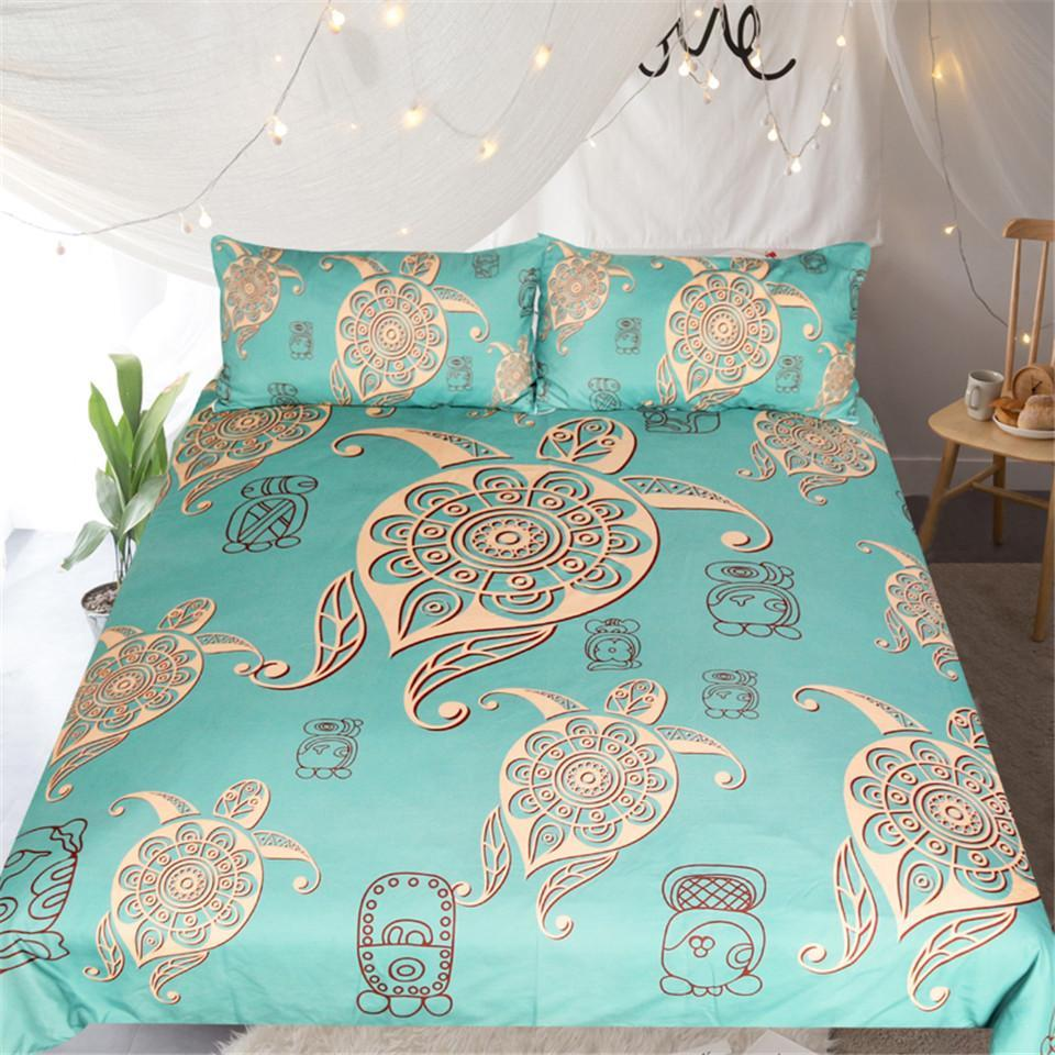Turtles In Turquoise Bedding Set-Duvet Comforter Bedding Set-US Twin-Coastal Passion