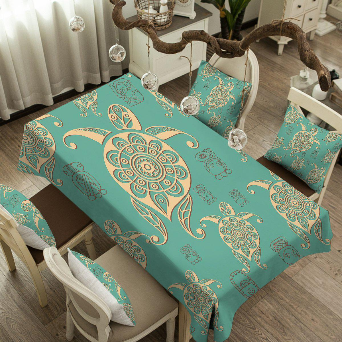 Turtles in Turquoise Tablecloth-Coastal Passion