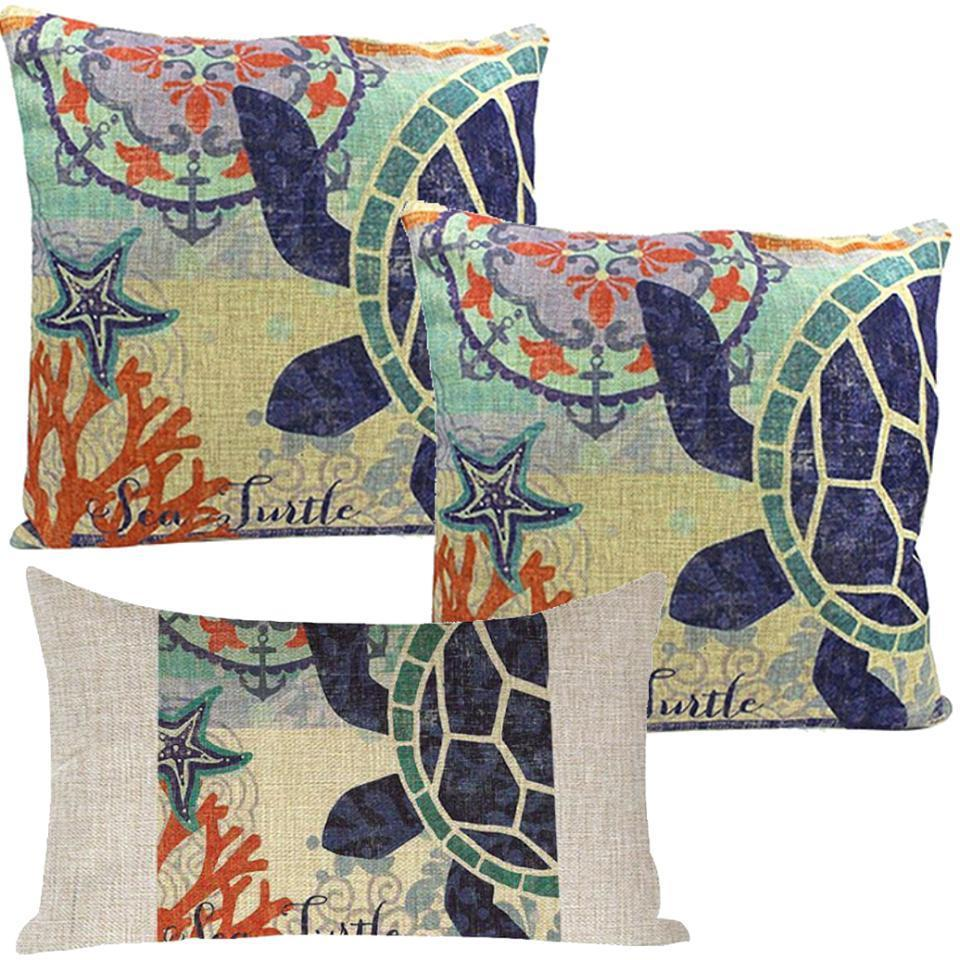 Turtles Island-Pillow Cover-Coastal Passion