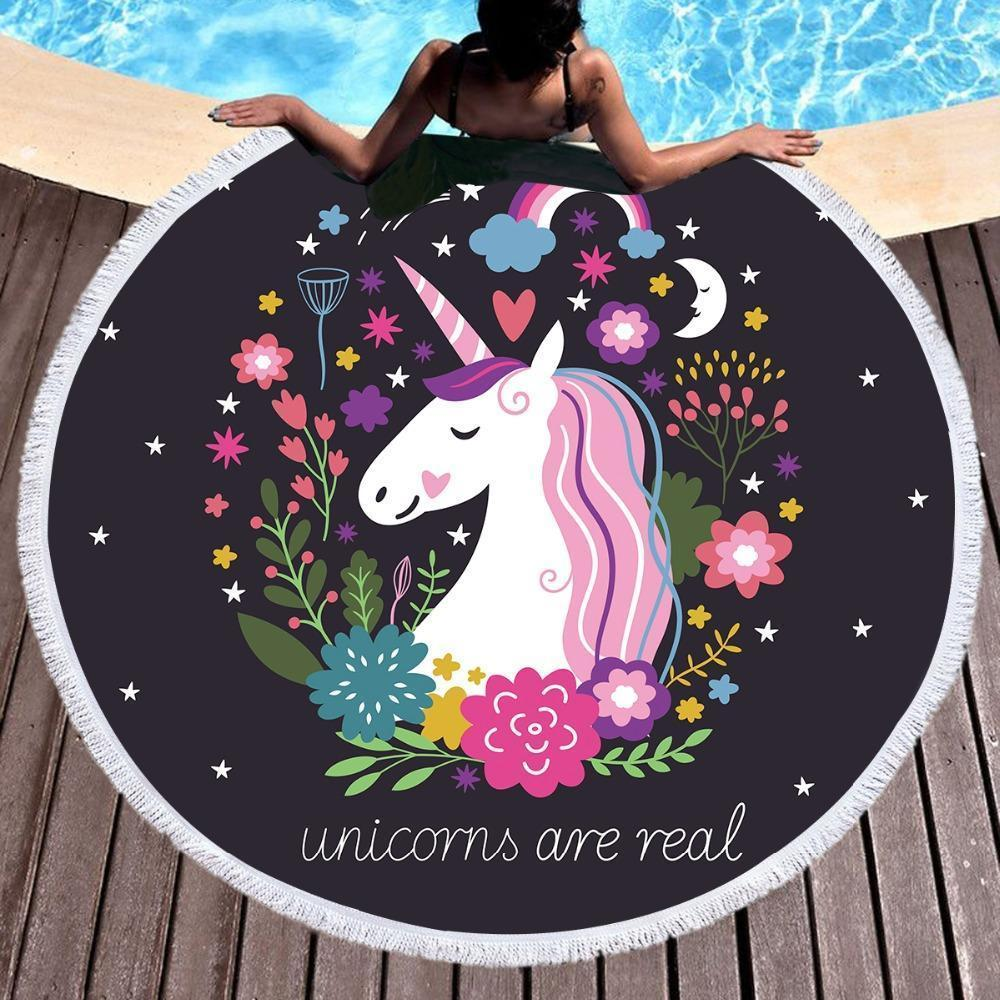 Unicorns Are Real - Baby Size 100 cm-Round Beach Towel-Coastal Passion