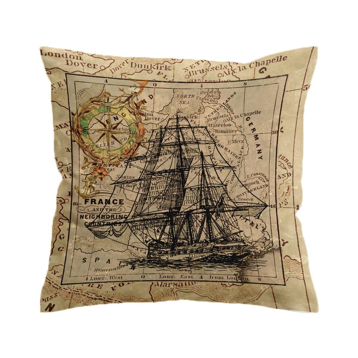 Vintage Nautical Map Pillow Cover-Coastal Passion