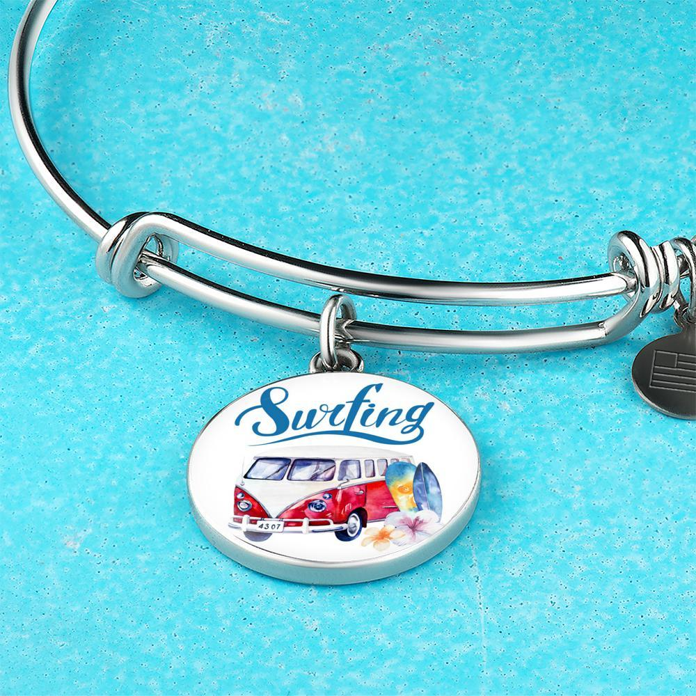 VW Bus Surfing Bangle Bracelet