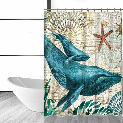 "Whale Life Shower Curtain-Shower Curtain-59"" L. x 70"" H.-Coastal Passion"