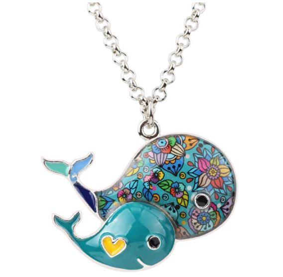 Wonder Whales - Enamel Pendant Necklace-Coastal Passion