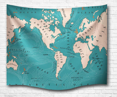 "World Map Wall Tapestry-60"" x 40""-Indoor: Light Polyester-Coastal Passion"