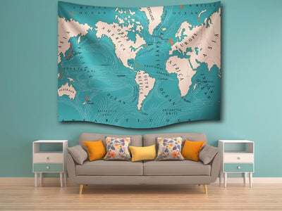 World Map Wall Tapestry--Coastal Passion