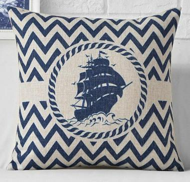 "Yacht Club Collection-Pillow Cover-17"" x 17""-Standard: Linen-Polyester-Yacht Collection 2-Coastal Passion"