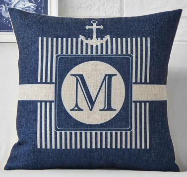 "Yacht Club Collection-Pillow Cover-17"" x 17""-Standard: Linen-Polyester-Yacht Collection 3-Coastal Passion"