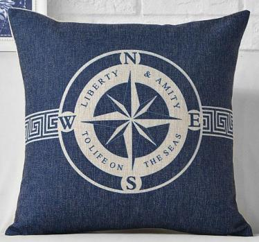"Yacht Club Collection-Pillow Cover-17"" x 17""-Standard: Linen-Polyester-Yacht Collection 5-Coastal Passion"