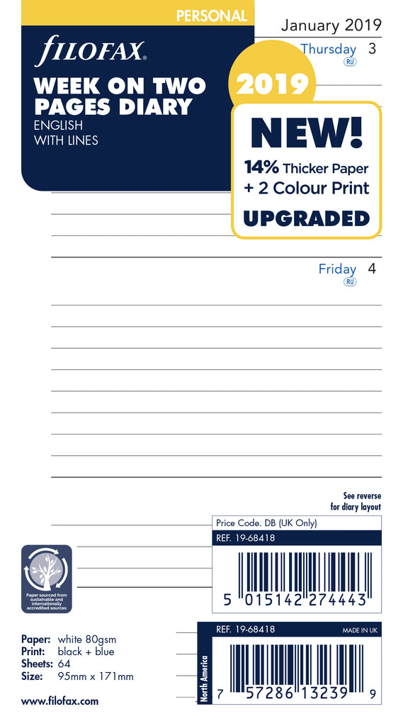 FILOFAX 2019 WEEK ON TWO PAGES LINED DIARY ENGLISH 19-68418