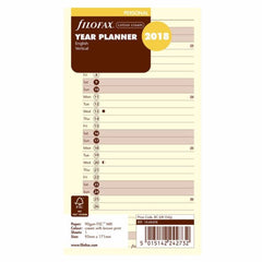 Filofax Vertical Year Planner Personal 2018 Cotton Cream 18-68408