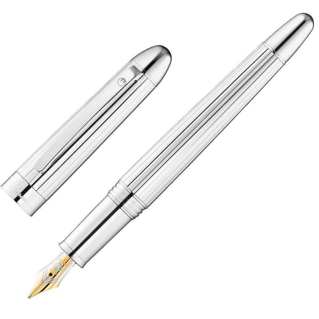 WALDMANN 925 STERLING SILVER PRECIEUX BROAD FOUNTAIN PEN WITH 18ct GOLD NIB 3103