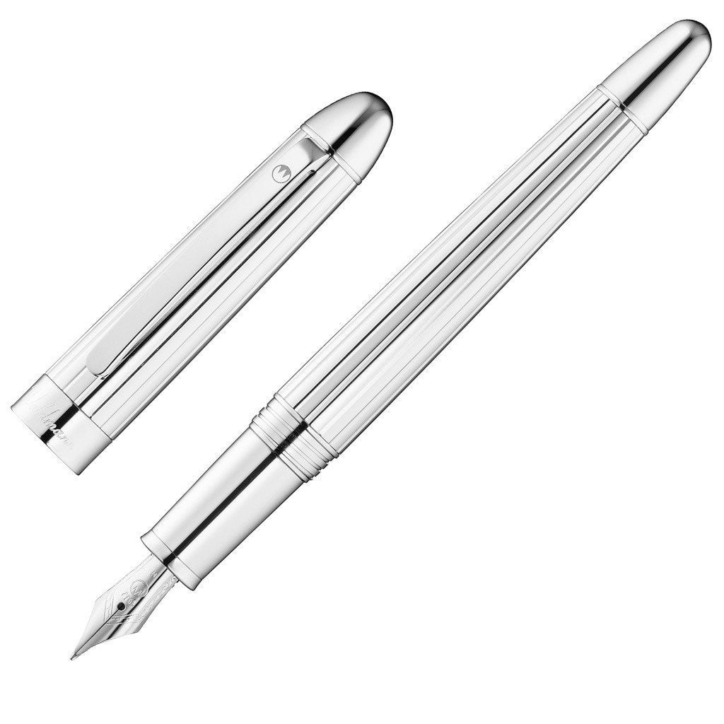 WALDMANN 925 STERLING SILVER PRECIEUX FOUNTAIN PEN MEDIUM  STEEL NIB 3099