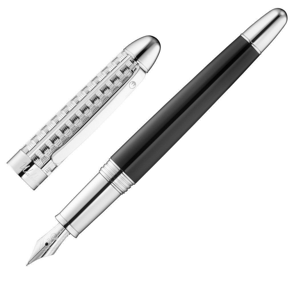 WALDMANN 925 STERLING SILVER PRECIEUX FOUNTAIN PEN WITH MEDIUM SIZE NIB 3108