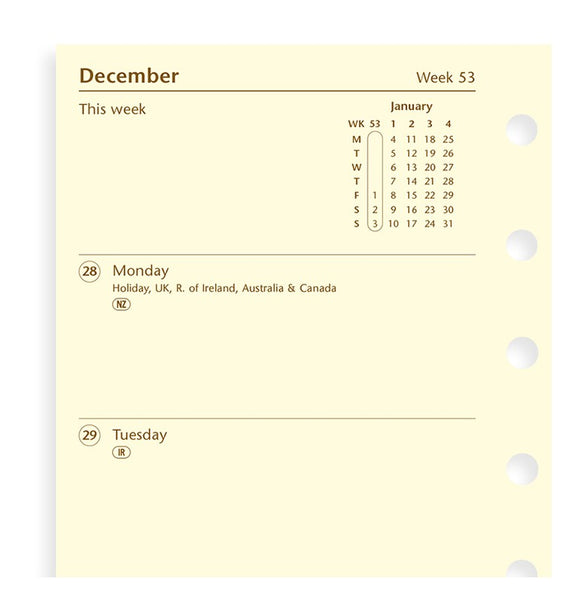 FILOFAX  WEEK ON TWO PAGES DIARY COTTON CREAM 19-68224