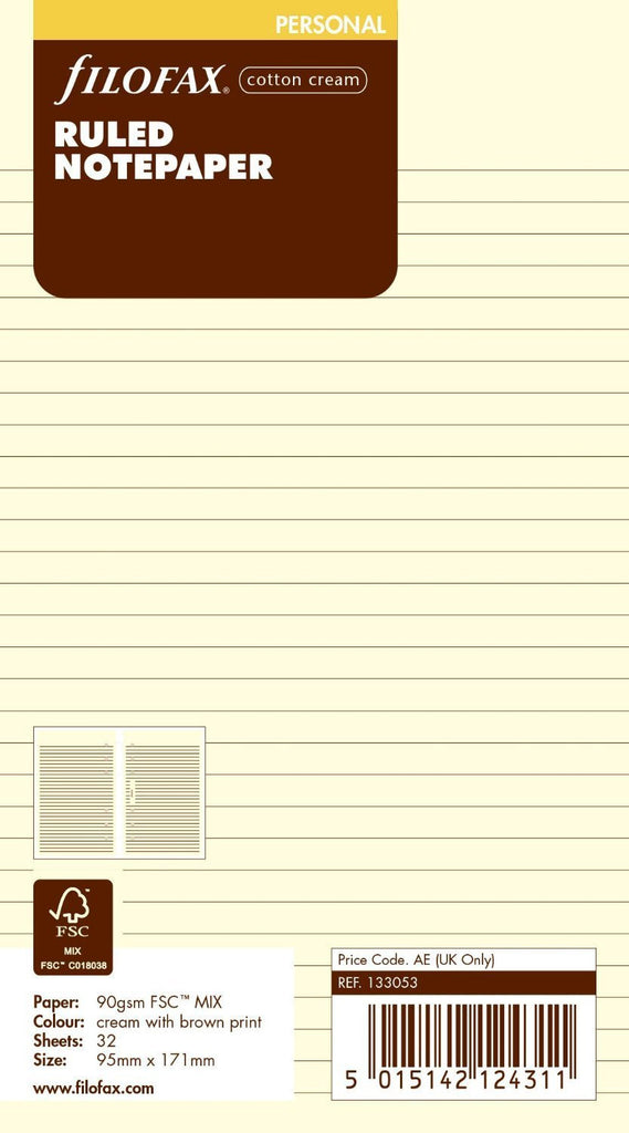 FILOFAX PERSONAL RULED NOTEPAPER COTTON CREAM REF:133053