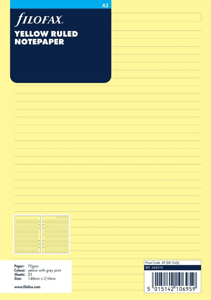 FILOFAX A5 YELLOW RULE NOTEPAPER REF:343010