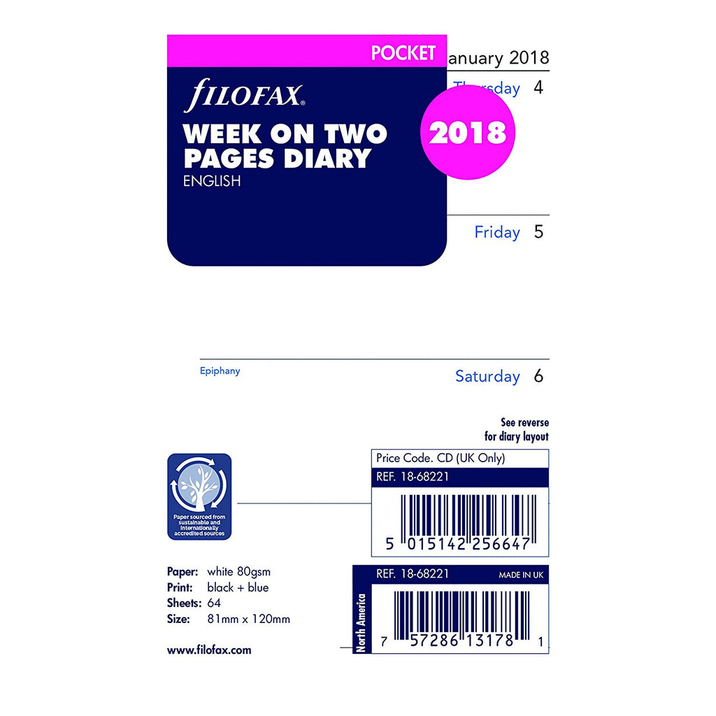 FILOFAX 2018 Week On Two Pages Diary Pocket 18-68221