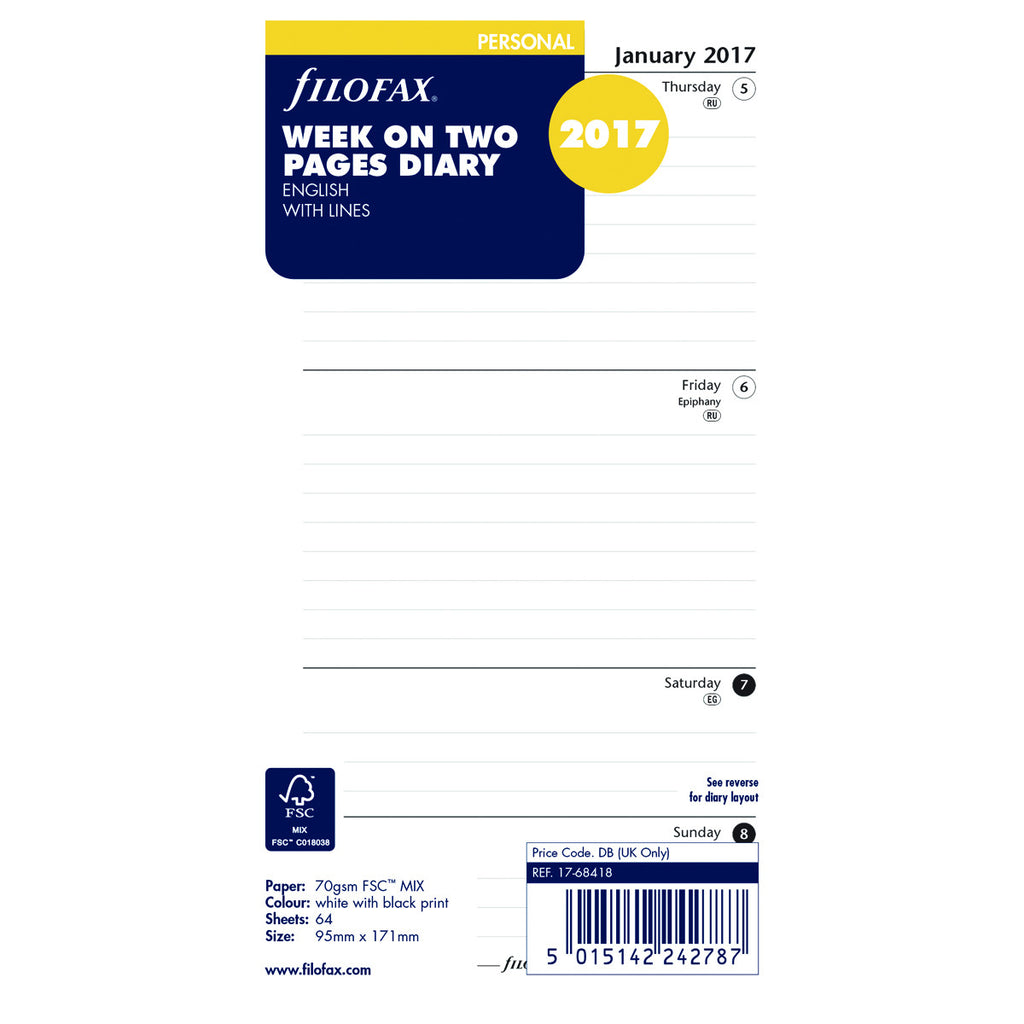 Filofax Personal Week on Two Pages Diary English with Lines 2017 Ref 17-68418